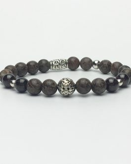Obsidian and Garnet Holistic Bead Bracelet