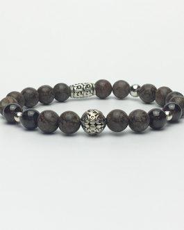 Obsidian and Garnet Holistic Bead Bracelet