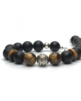 10mm Onyx and Tigers Eye Bead Bracelet