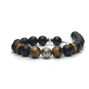 10mm Onyx and Tigers Eye Bead Bracelet
