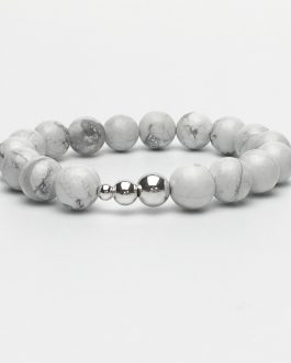 10mm Howlite and Silver Beaded Bracelet