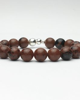 10mm Mahogany Obsidian and Silver Beaded Bracelet