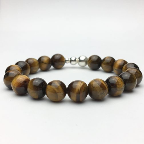 10mm Tigers Eye and Silver Beaded Bracelet