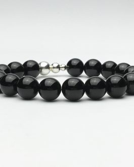 10mm Black Polished Onyx and Silver Beaded Bracelet
