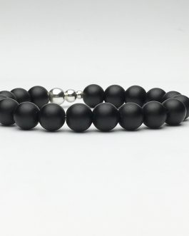 10mm Black Onyx and Silver Beaded Bracelet
