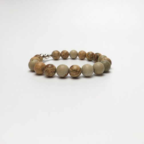 10mm Picture Stone and Silver Beaded Bracelet