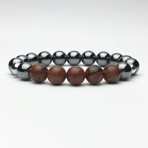10 mm Hematite and Obsidian Beaded Bracelet