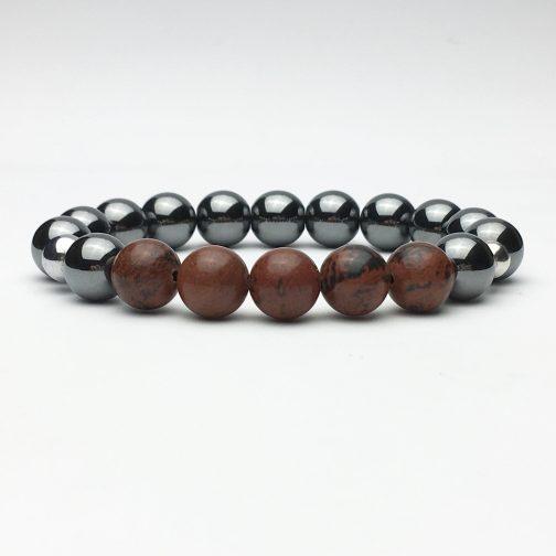 10 mm Hematite and Obsidian Beaded Bracelet