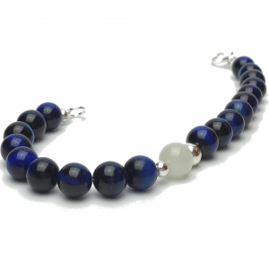 Blue Tigers Eye and Moonstone Bracelet with clasp