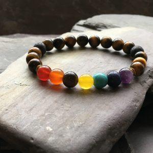 7 Chakra and Tigers Eye Bead Bracelet with Lava Stone