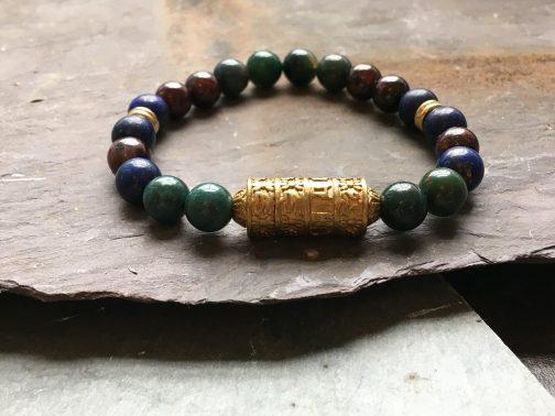 Tibetan style multi stone luxury bead bracelet