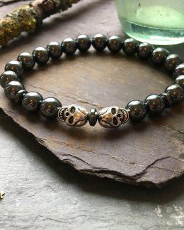 Hematite and Steel Skull Bead Bracelet