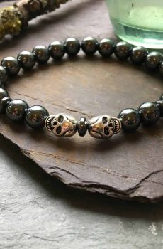 Hematite and Steel Skull Bead Bracelet