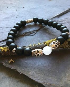 Steel Skull with Onyx and White Jade Beaded Holistic Bracelet