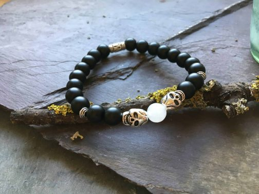 Steel Skull with Onyx and White Jade Beaded Holistic Bracelet