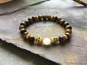 Skull Bracelet. Tigers Eye and White Jade Holistic Bead Bracelet