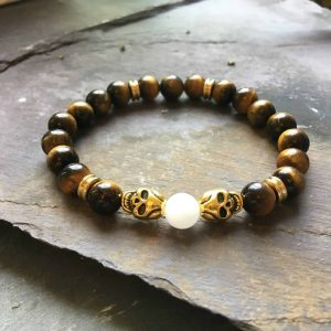 Skull Bracelet. Tigers Eye and White Jade Holistic Bead Bracelet