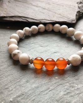 White Howlite and Orange Agate Bead Bracelet.