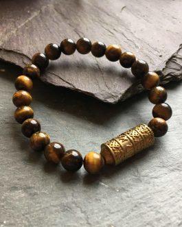 Tibetan Style Tigers Eye and Brass Bead Bracelet