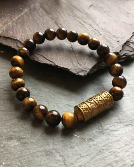 Tibetan Style Tigers Eye and Brass Bead Bracelet