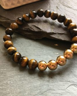 Tigers Eye and Rose Gold Plated Bead Bracelet.