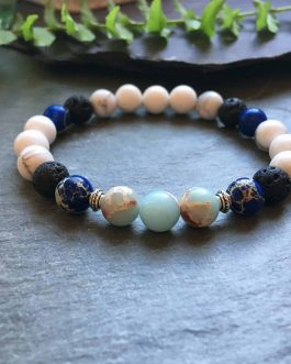 Blue, White and Black Gemstone Bead Diffuser Bracelet.