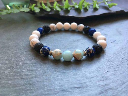 Blue, White and Black Gemstone Bead Diffuser Bracelet.