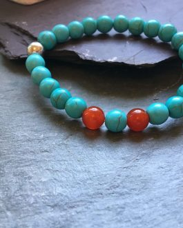 Turquoise, Red Agate and Metal Bead Bracelet