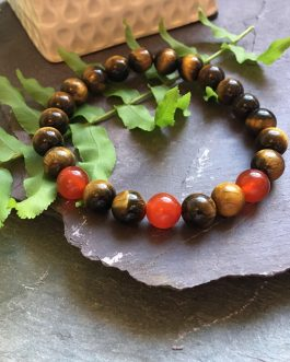 Tigers Eye and Red Agate Bead Bracelet