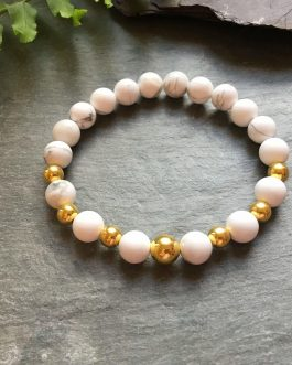 White Howlite and Gold Plated Beaded Bracelet