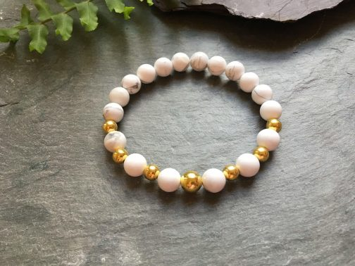 White Howlite and Gold Plated Beaded Bracelet
