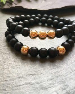 Black and Rose Gold Coloured Stylish Bead Bracelet Set.