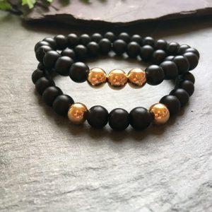 Black and Rose Gold Coloured Stylish Bead Bracelet Set.