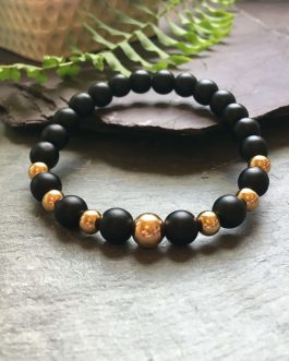 Black and Rose Gold Coloured Stylish Bead Bracelet