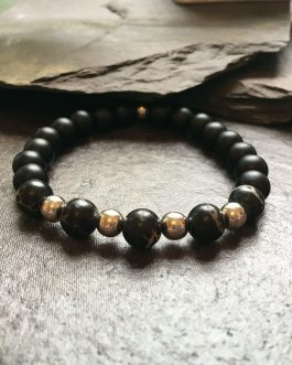 Black and Silver Metal Beaded Fashion Bracelet