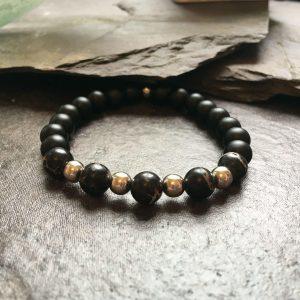 Black and Silver Metal Beaded Fashion Bracelet