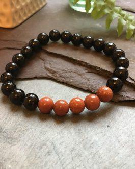 Polished Black Onyx and Goldstone Bead Bracelet