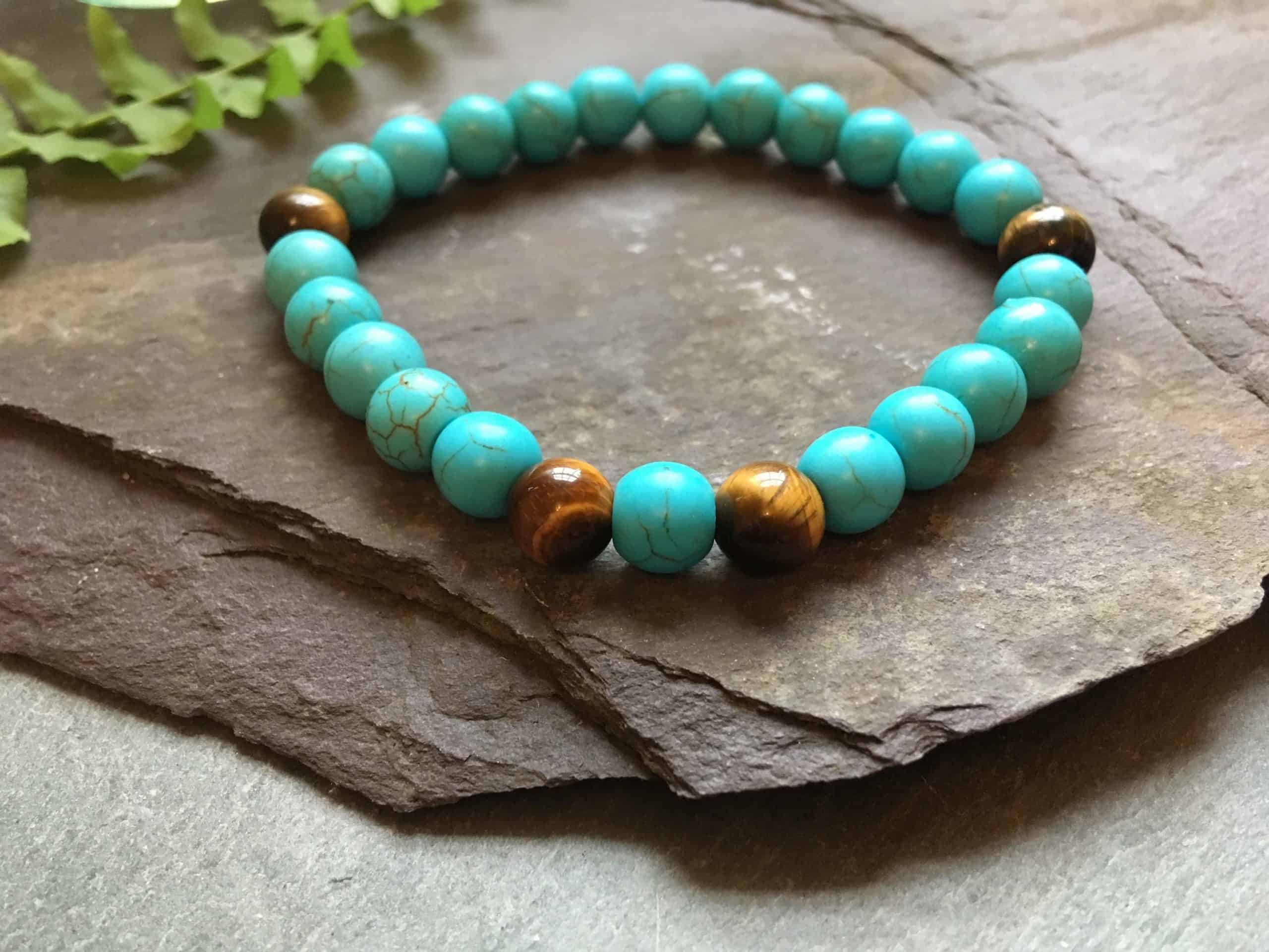 Turquoise and Tigers Eye Beaded Bracelet