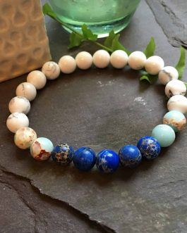 Howlite with Dark and Baby Blue Regalite Bead Bracelet