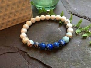 Howlite with Dark and Baby Blue Regalite Bead Bracelet