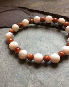 Howlite and Goldstone Beaded Bracelet