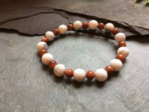 Howlite and Goldstone Beaded Bracelet