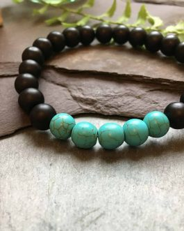 Matte Black Onyx Bracelet With Cool Green Turquoise Stone Beads