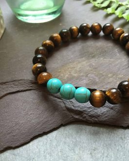 Tigers Eye and Cool Green Turquoise Stone Bead Bracelet