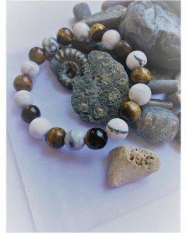 Tigers Eye and Howlite White Stone Fashion Bead Bracelet