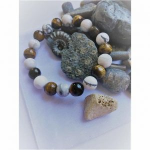 Tigers Eye and Howlite White Stone Fashion Bead Bracelet