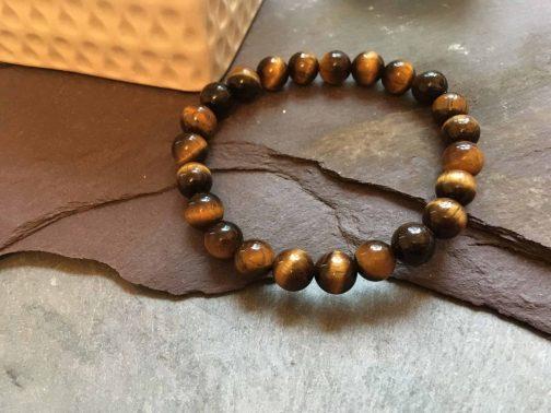 Tigers Eye Stone Bead Bracelet