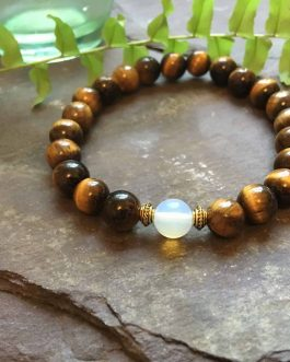 Tigers Eye and Opal Stylish Bead Bracelet