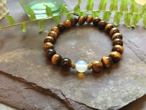 Tigers Eye and Opal Stylish Bead Bracelet