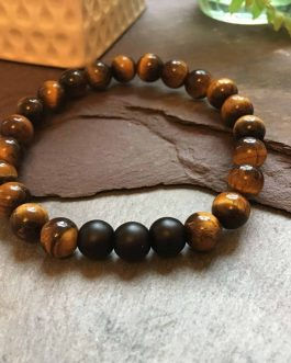 Tigers Eye Bracelet With Matte Black Onyx Stone Beads